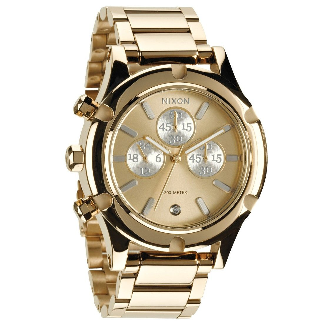 Nixon womens watch the camden chrono champagne gold silver watch