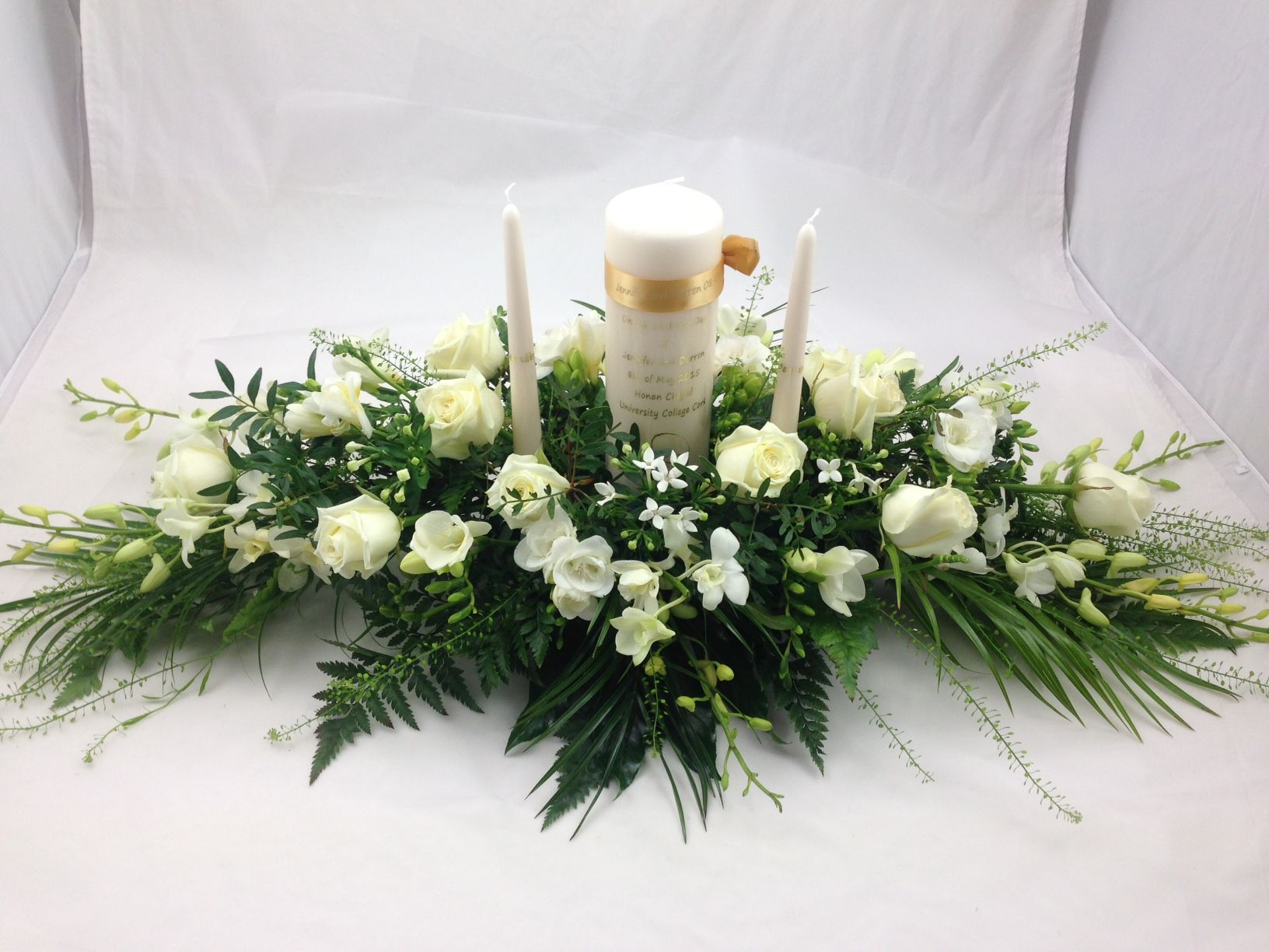 Wedding candle arrangement unity candle arrangement church wedding flowers