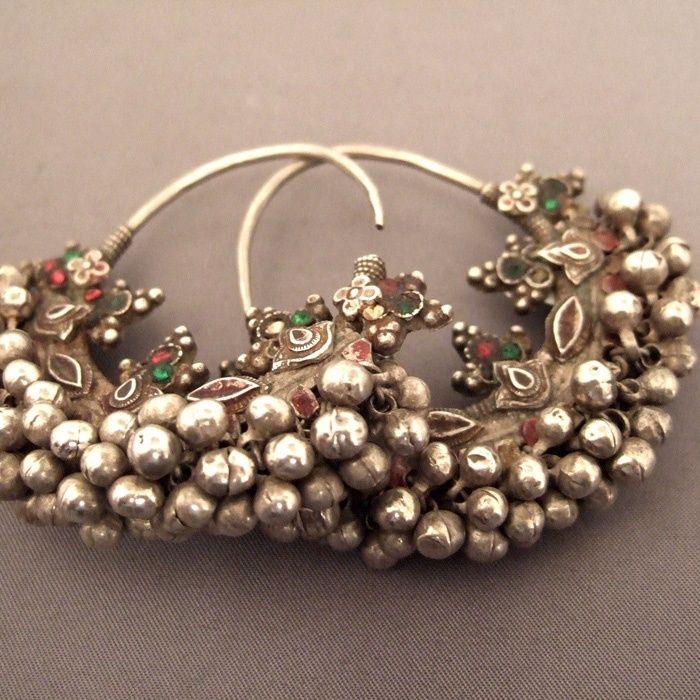 India, Silver Hoop Antique earrings (Rajasthan) … | Pinteres…