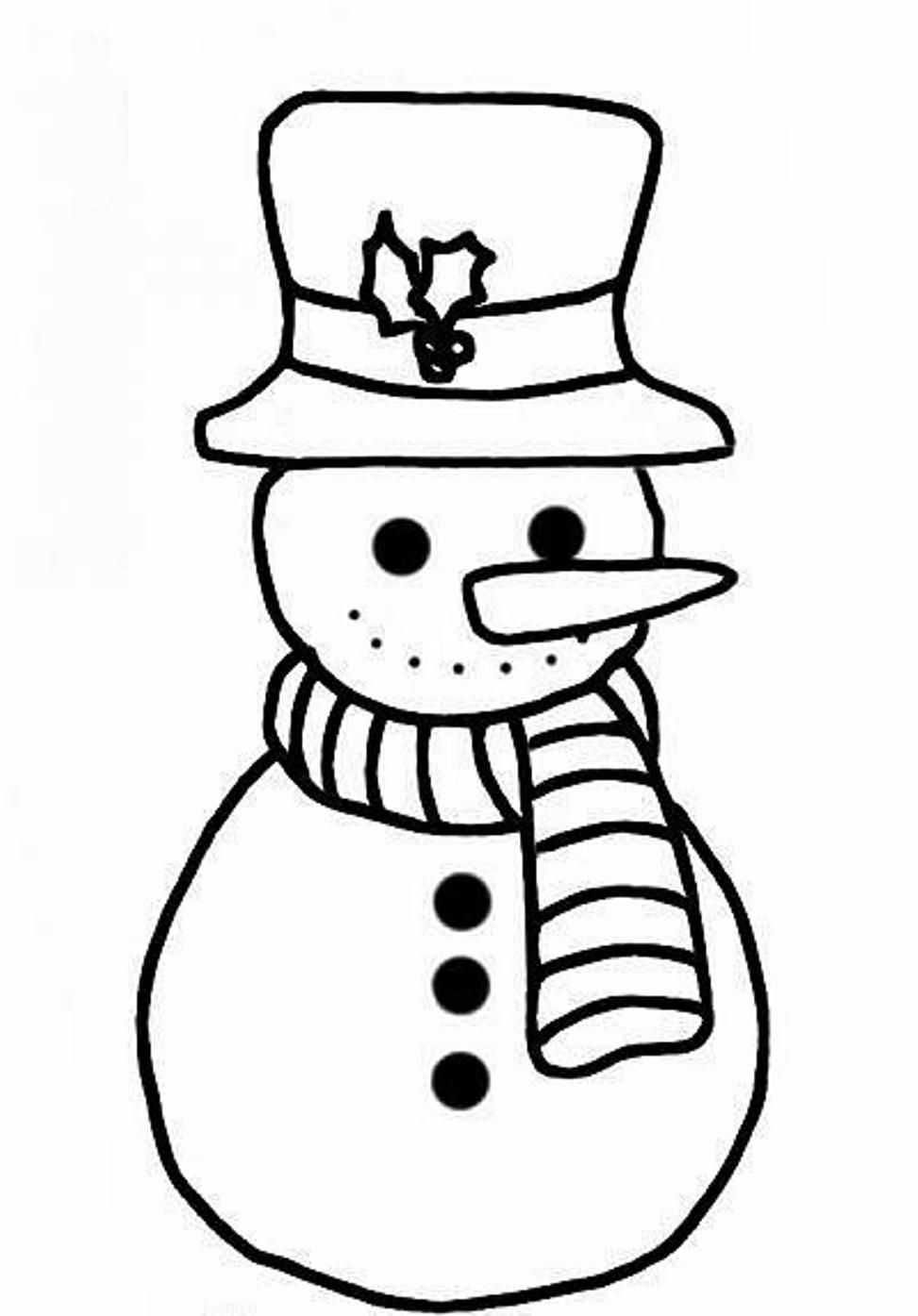 Winter Coloring, Simple Snowman Coloring Pages For Kids