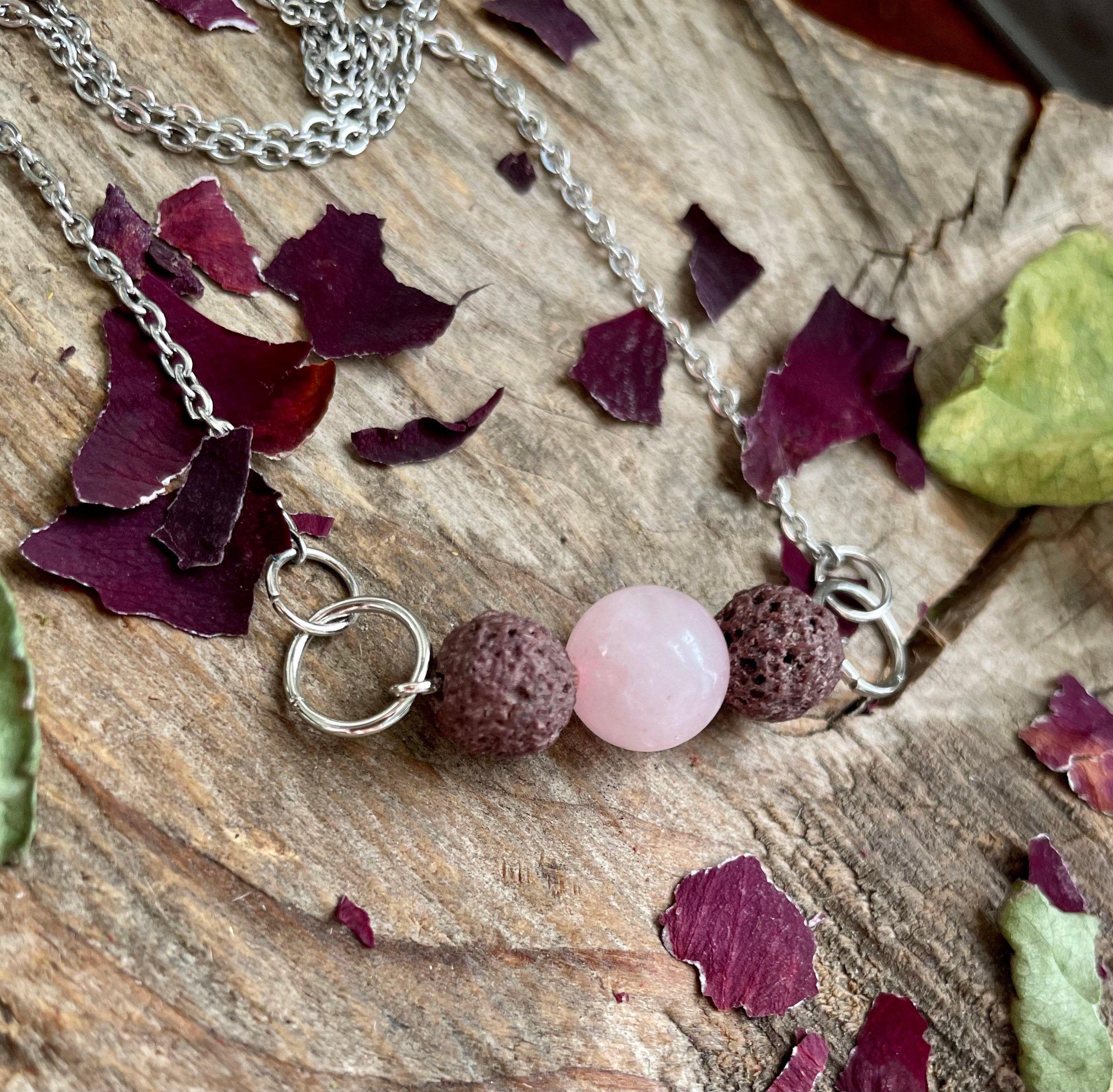 Essential Oil Necklace for Women Rose Quartz Lava Stone Necklace Rose Quartz Healing Stone Necklace Rose Quartz Aromatherapy Necklace