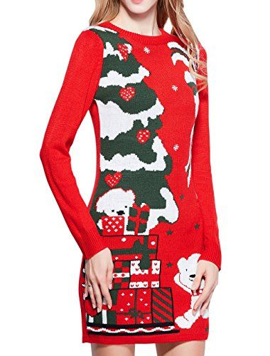 Women Christmas Sweater, V28 Ugly Ladies Girls Cute Bear Xmas Knit