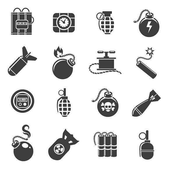 Bomb And Explosives Icons Grenade Tattoo Explosion Drawing Sketch Tattoo Design