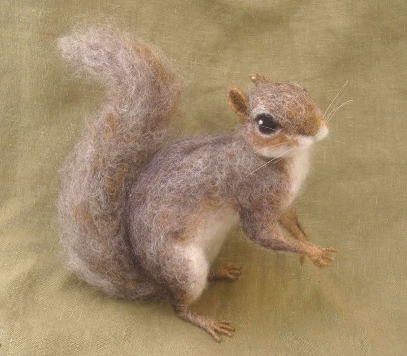 Needle felted grey squirrel woodland animal by Ainigmati on Etsy