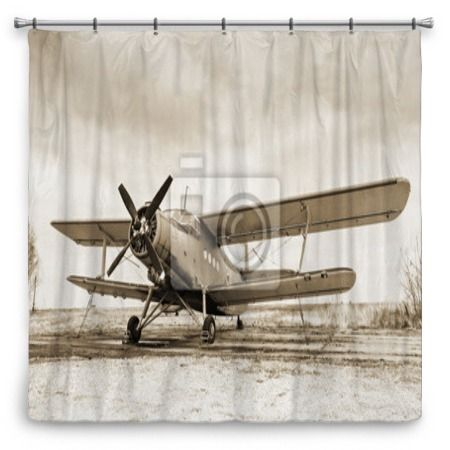 Old Airplane Shower Curtain 70x70 Only At VisionBedding