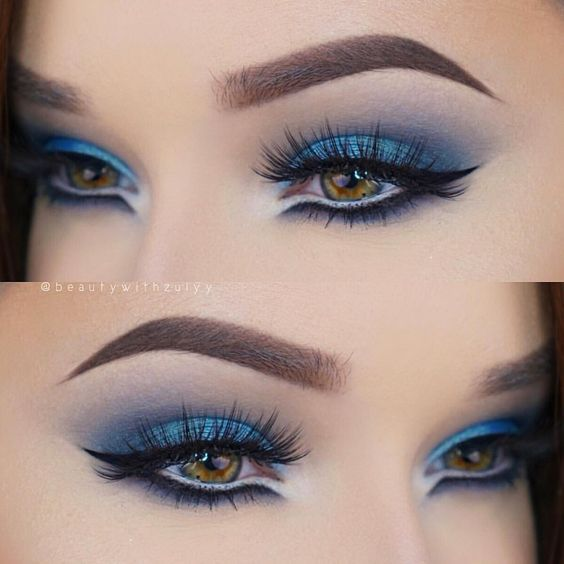 Look Con Sombras De Color Intensas Maquillaje Ojos Azules
