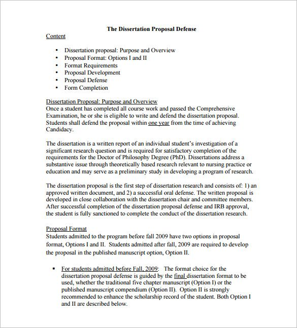 Dissertation Proposal Template Free Sample Example Format  Home