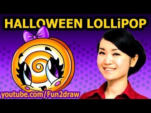 How To Draw Halloween Candy Lollipop Easy Fun2draw Drawing