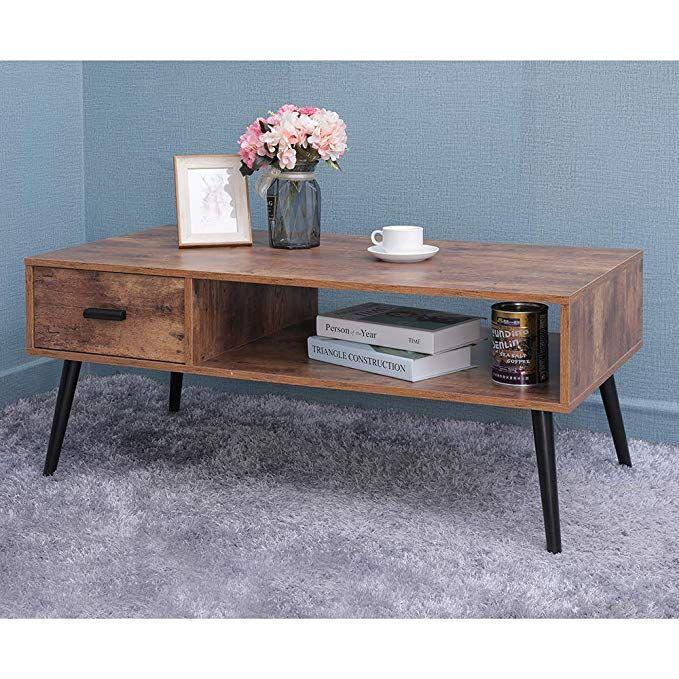 Amazon Com Iwell Mid Century Coffee Table With Storage
