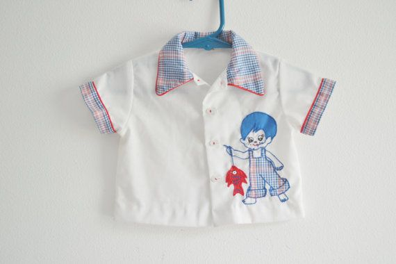 Vintage Baby Boys Shirt with Applique by StellaRaeVintageBaby, $25.00