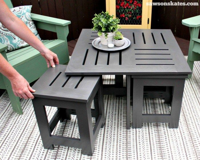 Diy Outdoor Coffee Table With 4 Hidden Side Tables Outdoor
