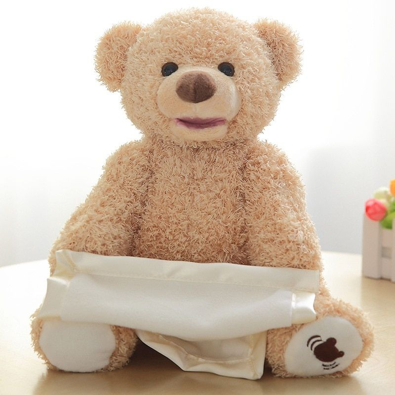 Peekaboo Talk Brown Teddy Bear Plush Toy Filled Plush Doll Kids Favorite Gift