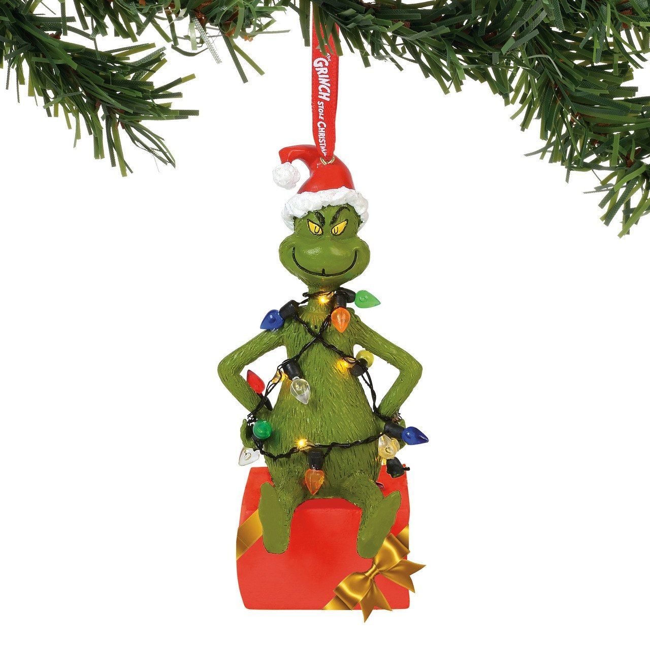 Department 56 Grinch Wrapped In Lights Lighted Christmas Ornament 6000308 Christmas Light Ornament Grinch Ornaments Painted Christmas Ornaments