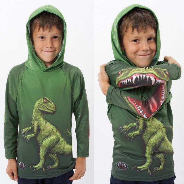The Raptor Hoodie Shirt forms the head of a prehistoric creature when one elbow is crossed over the other.