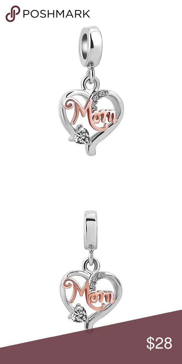 f2d8dabbf Love Mom Charm | Mom Charm | Fits Pandora Bracelet Silver Heart Mom Charm |  Fits Pandora Bracelet | Love Mom Mother Heart Charm Dangle Bead for  European ...