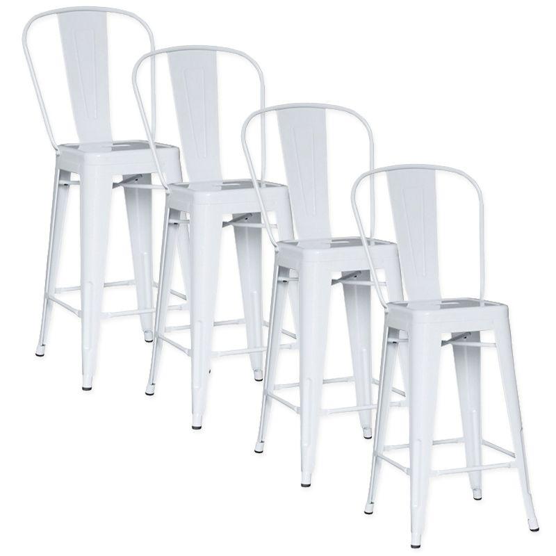 DECO IN PARIS - Lot de 4 chaises de bar metal loft laque blanc tab