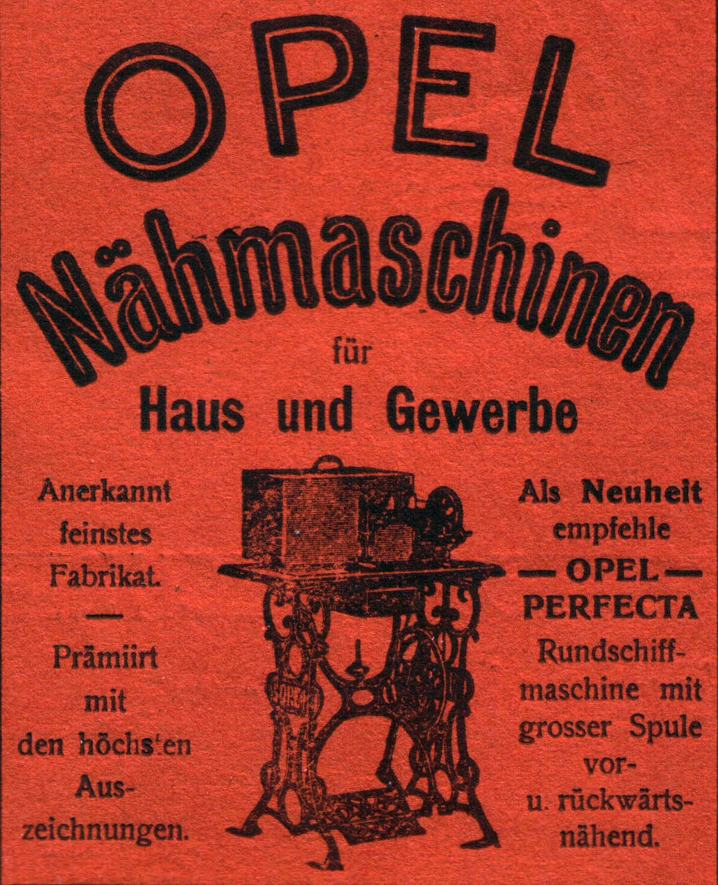 Advertisement for Opel Perfecta-Sewing Machines (1901)