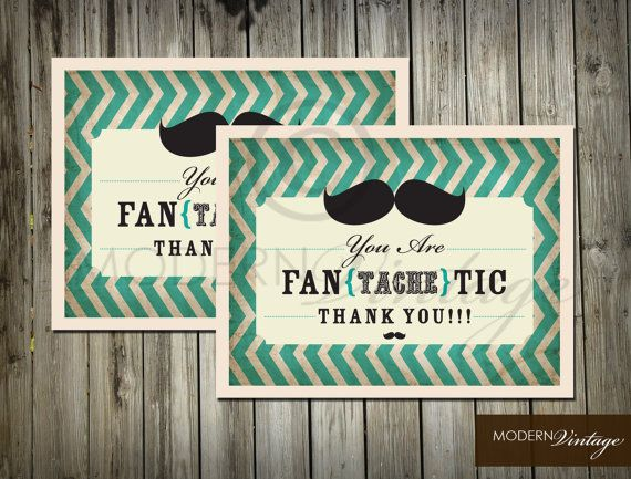Fantachtic Mustache Bash Thank You Card Set Of 12 Wishful