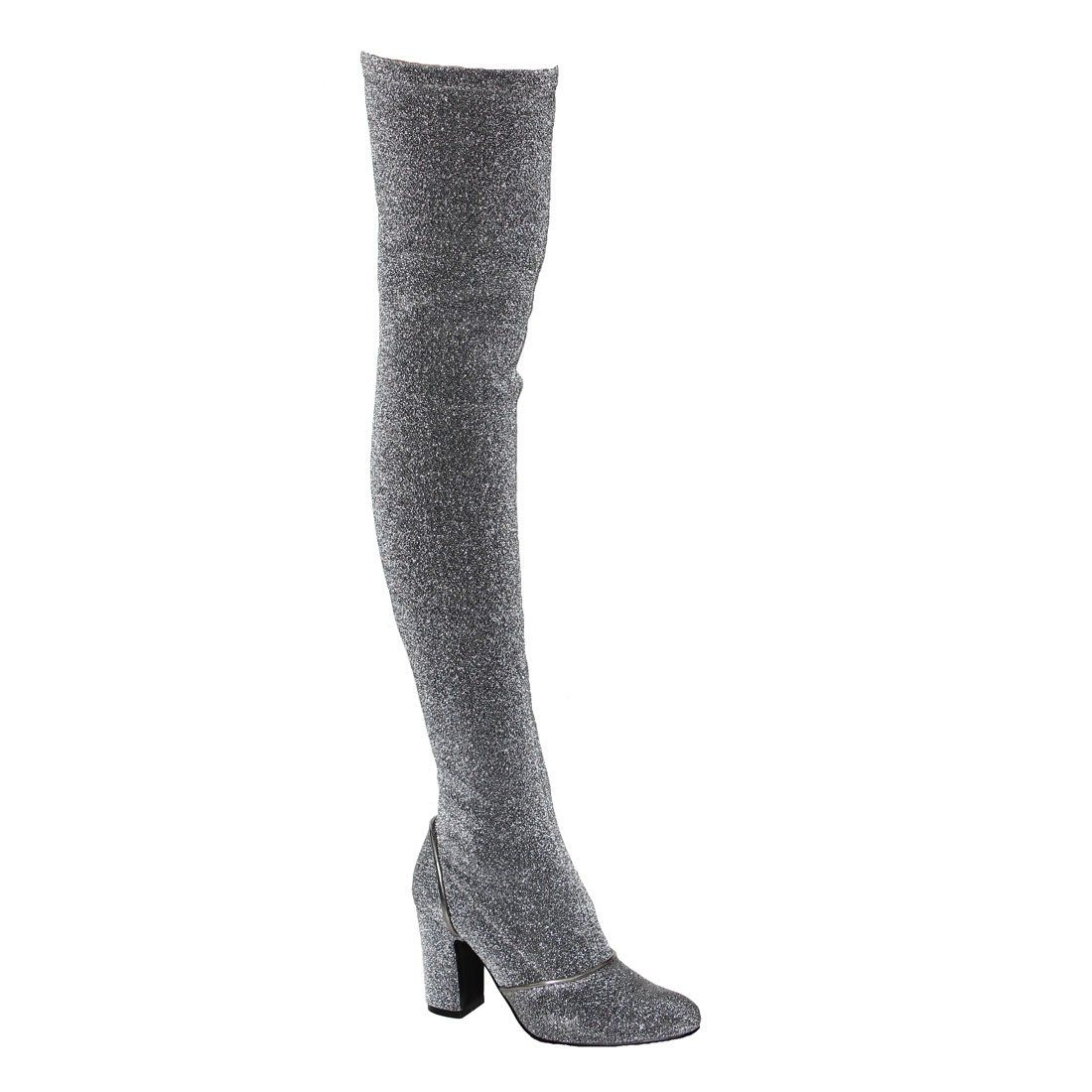 Beston ej58 womens snug fit block heel over knee high boot