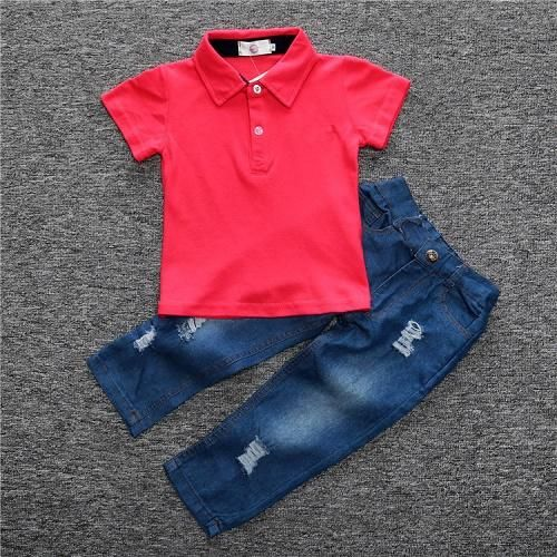 f384196ad Kids polo shirts boys jeans trousers children boy red cotton short ...