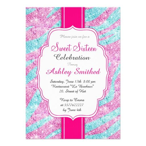 #Zebra #Stripes #Pattern #Pink #Teal #Glitter Sweet 16 Invite #birthday #invitation. #sweetsixteen, #sweet16, #sweet16Birthday, #sweet16party, #sweet16themes, #partyideas, #invitations ,#birthday