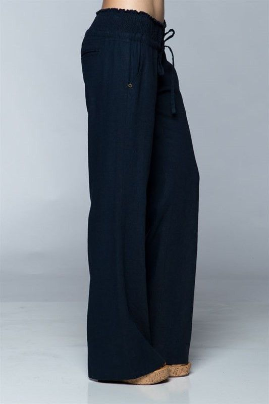 Linen Pants with Smocked elastic waist band (55% Linen/45% Viscose)