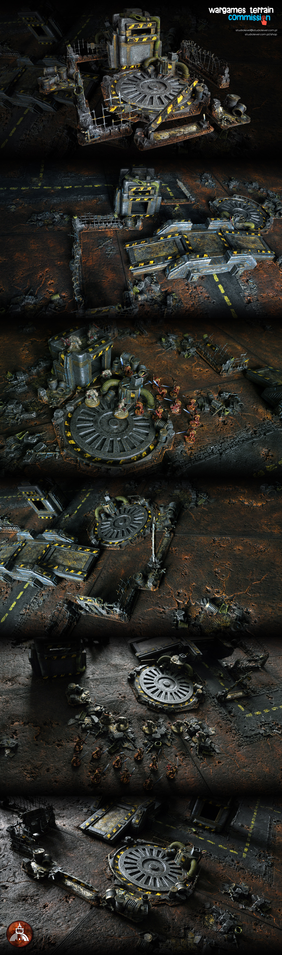Bloodletters of Khorne vs. Dark Angels Terminators, Landing Pad Battle SET RUSTY WASTE by StudioLevel [2015]    more stuff here:    http://studiolevel.com.pl/shop/44-rusty-waste