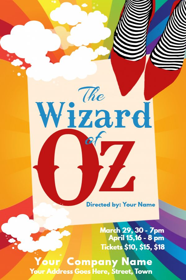 Wizard Of Oz Play Poster Template Click To Customize Poster Template Wizard Of Oz Play Poster