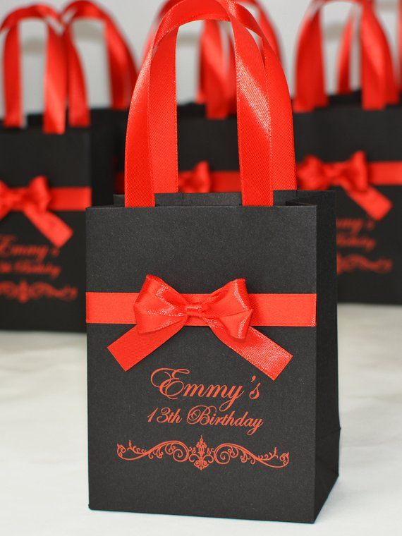 20 Birthday Gift Bags For Favors Guests Personalized Party Favor Welcome Bag With Red Satin Ribbon Handles Bow And Your Name