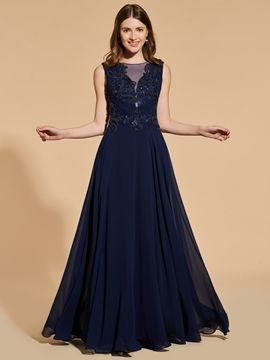 A Line Chiffon Long Prom Dress With Beadings #PromDresses #A #Line #Chiffon #Long #Prom #Dress #With #Beadings
