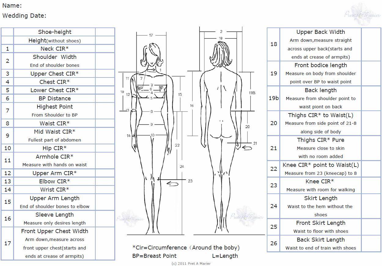 Women S Measurement Chart Sewing Measurements Body Measurement Chart Sewing