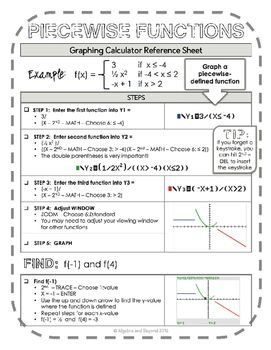 Graphing Calculator Reference Sheet Piecewise Functions College