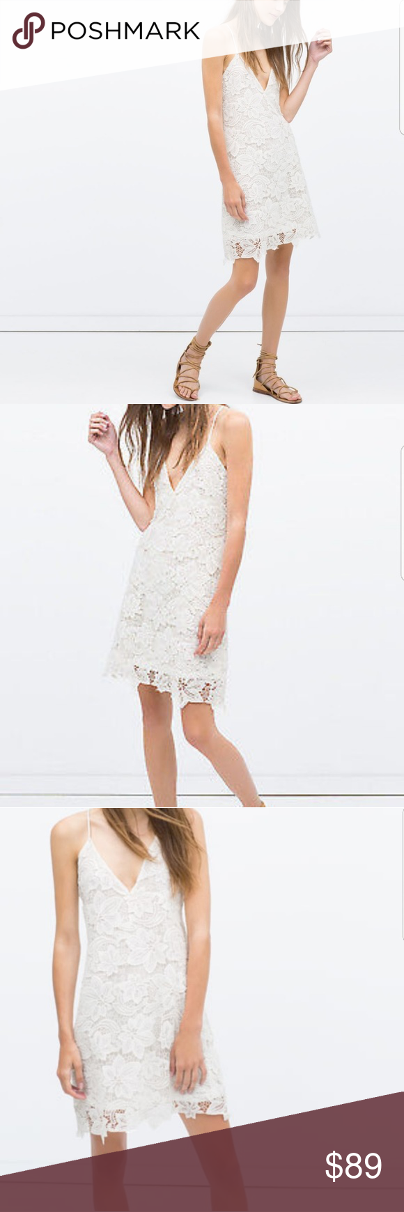 White lace dress zara  Zara lace dress Gorgeous lace zara dress with deep vcut nwt