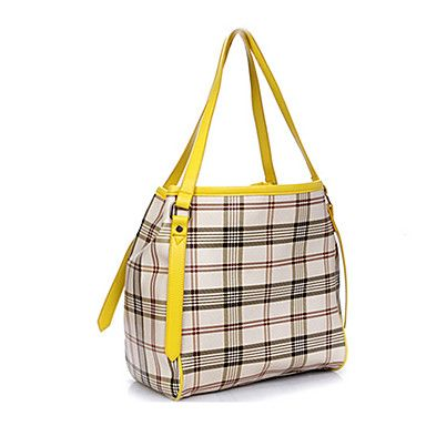 Women's Girls Fashion Casual Plaid Pattern Synthetic Leather Handbag Tote Bag Shoulder Bag Yellow