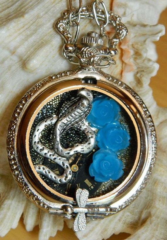 Steampunk necklace Adder & Blue Roses free by EmilySteampunk, $43.00