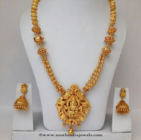 Gold Plated Long Haram with Jhumka Gold India jewelry and Jewel