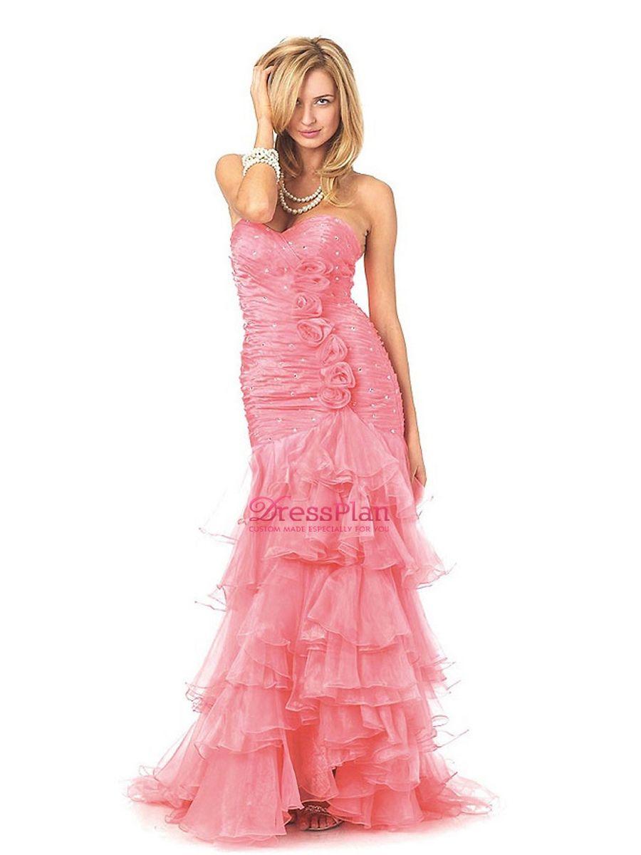 Vestido de novia corte sirena, sin tirantes, de organza | 15 de ...