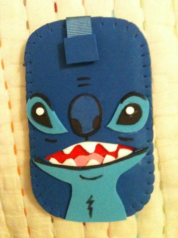 Stitch mobile fundas para celular ideas sin molde - Fundas de goma eva ...