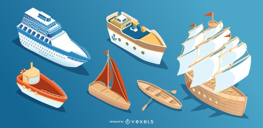 Isometric Boat Ship Design Collection Ad Affiliate Affiliate