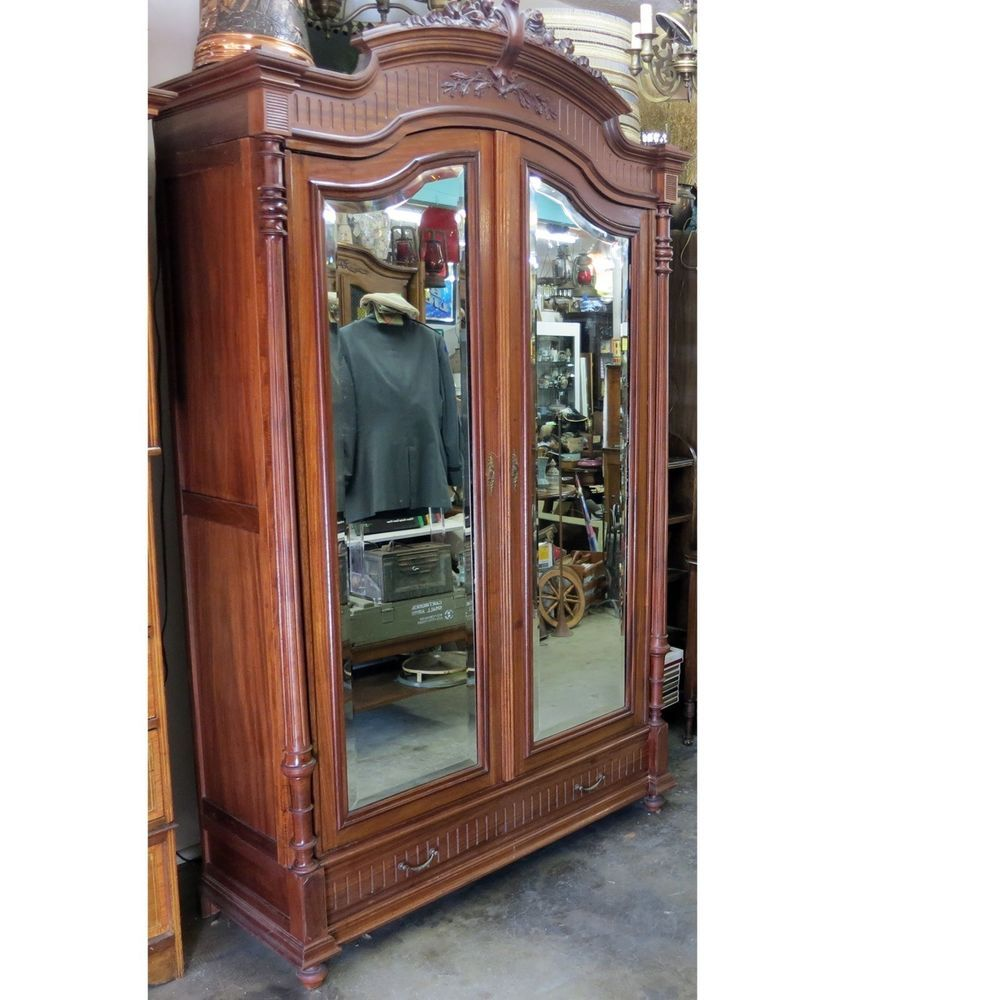 Louis Xiv Armoire Antique Wardrobe Cabinet Drawers Beveled Edge Mirror Roses