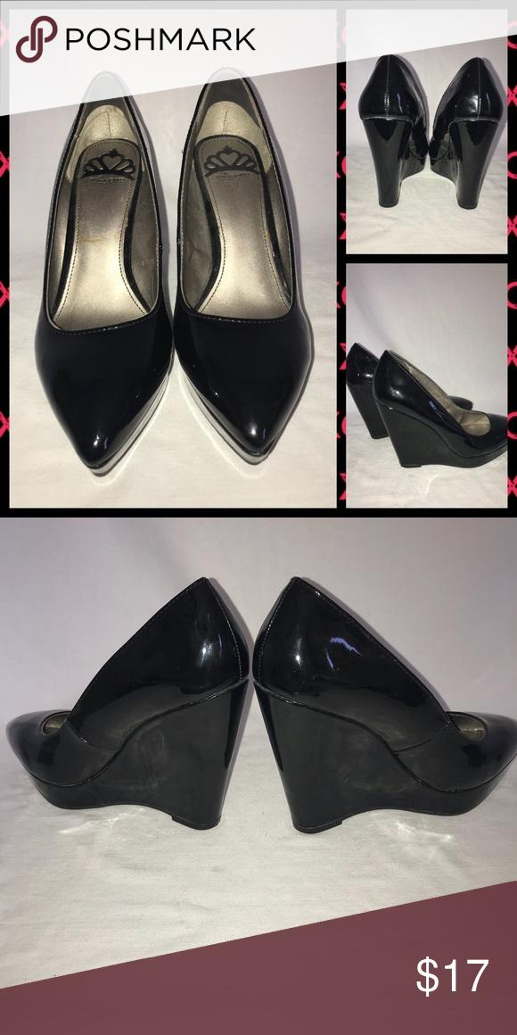 Fergalicious black patent wedge heels