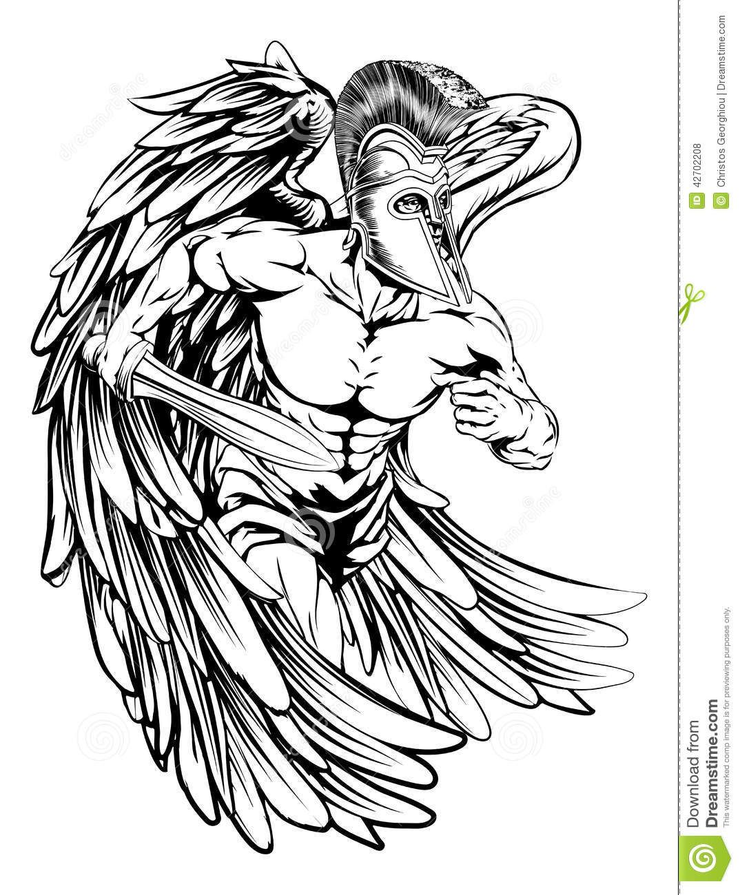 28 Angel Drawings Free Drawings Download: Angel With Sword Stock Vector - Image: 42702208