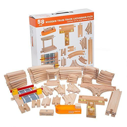 58 Piece Wooden Train Track Expansion Pack Featuring Container Ship ...