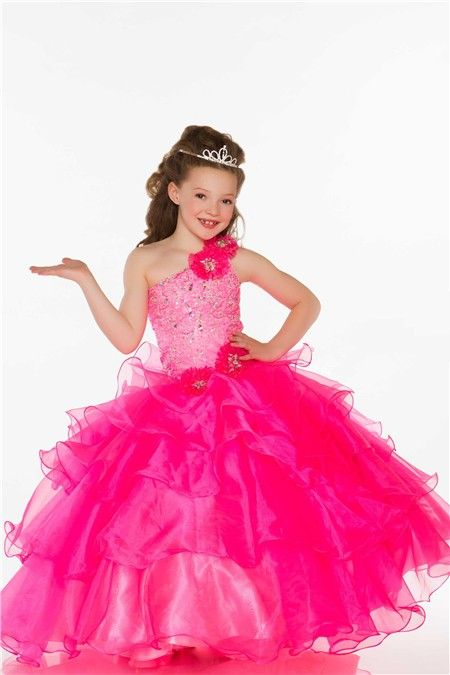 Ball One Shoulder Hot Pink Organza Ruffle Beaded Little Girl Prom ...