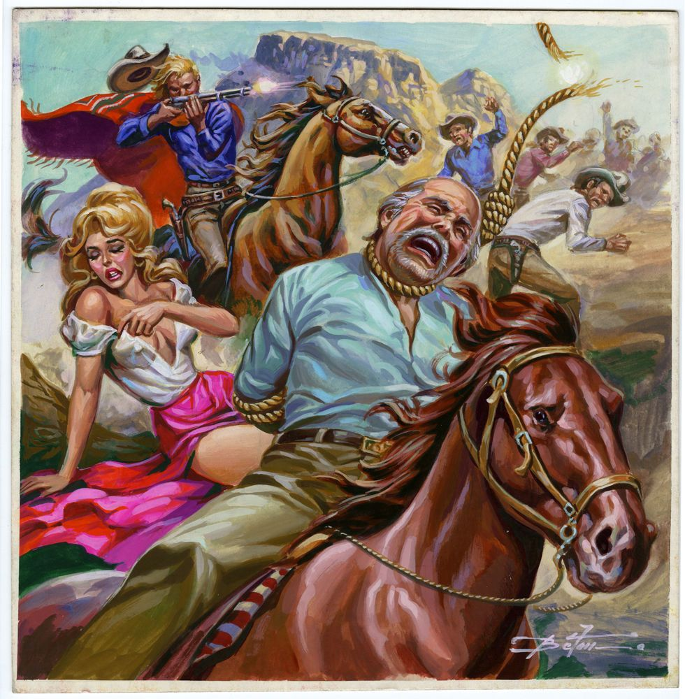 Mexican Pulp Western Illustration Art Cover Painting