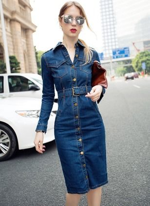 Denim Solid Long Sleeve Knee,Length Casual Dresses