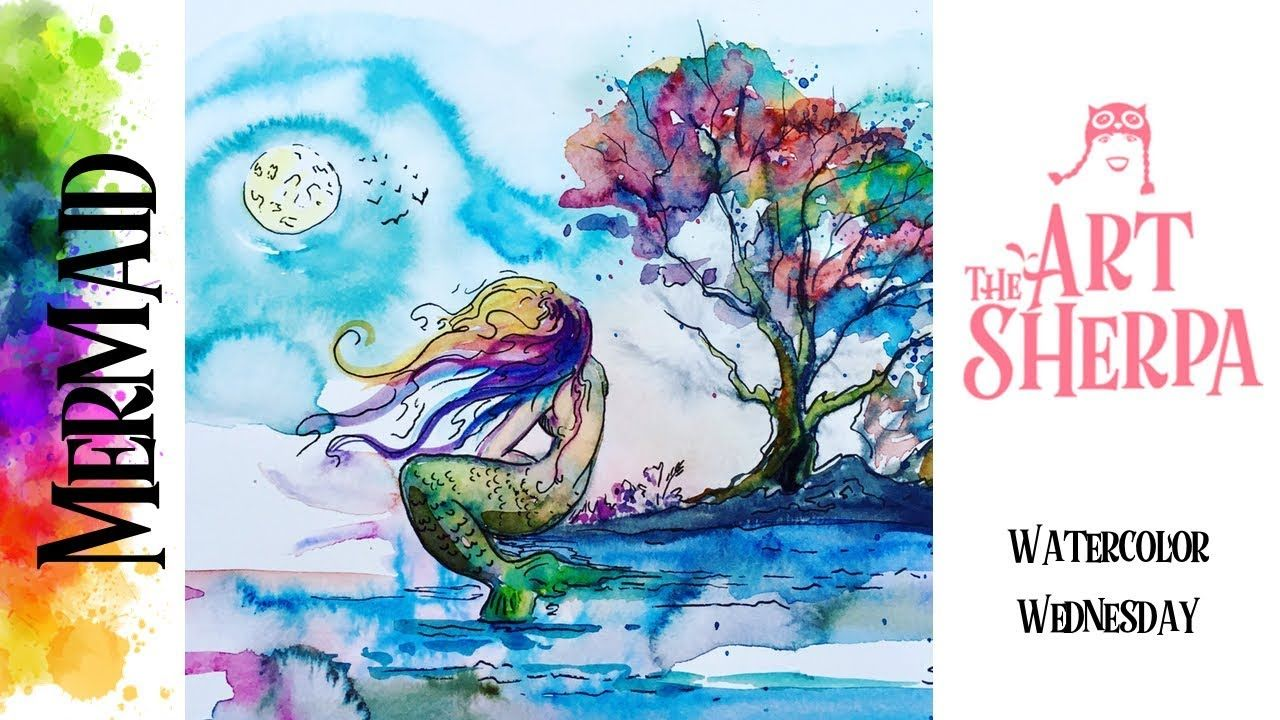 Mermaid Beginners Step By Step How To Paint With Watercolor The