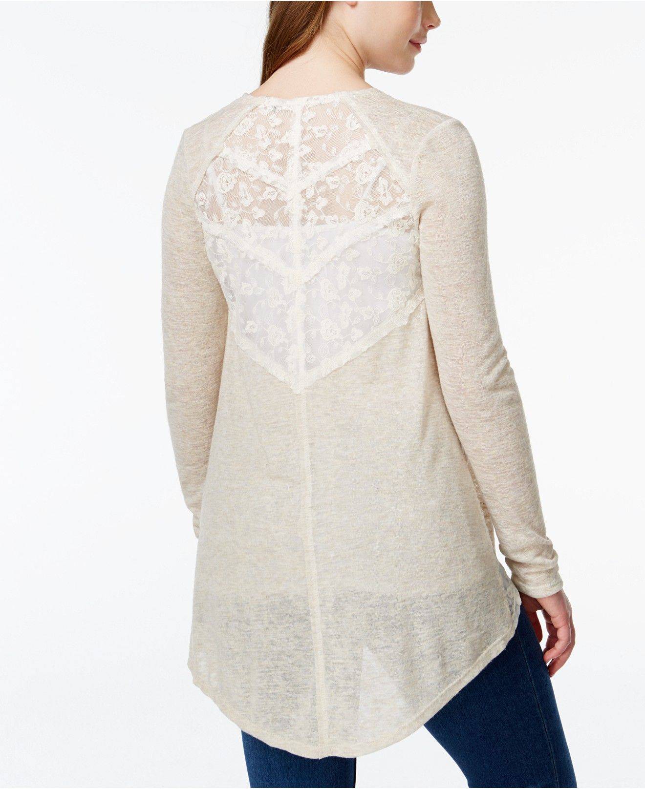 American Rag Marled Lace-Trim High-Low Cardigan Sweater, Only at ...