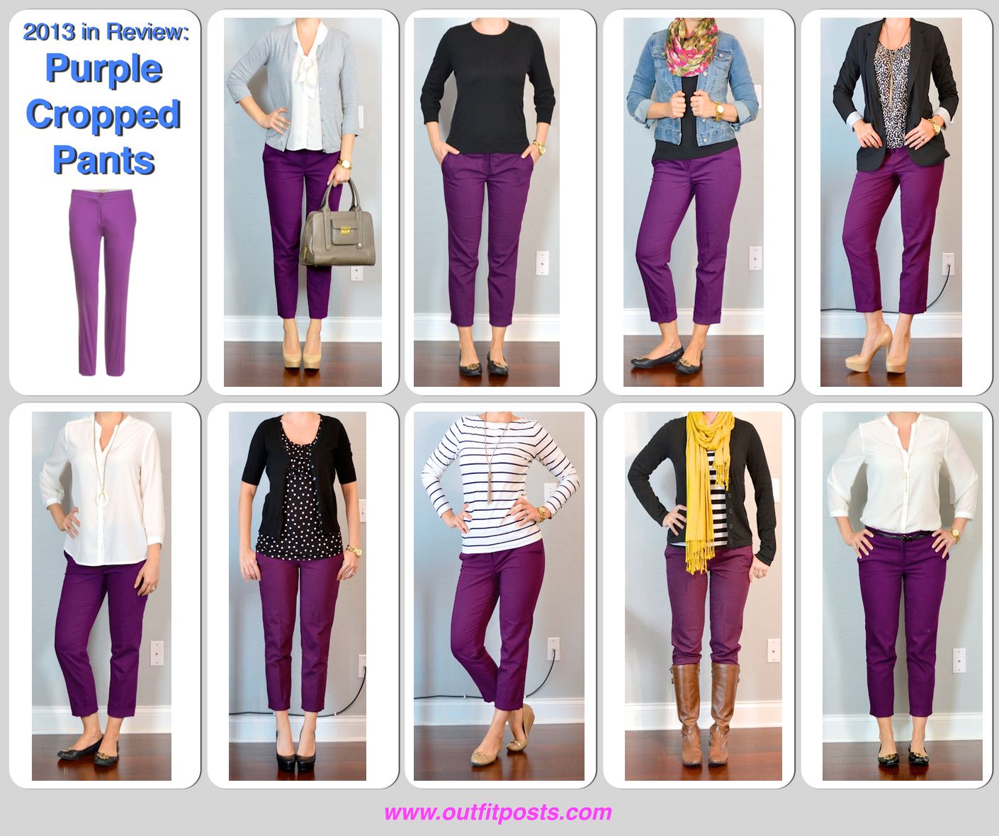Purple cropped pants with a variety of different shirts for What color matches with purple