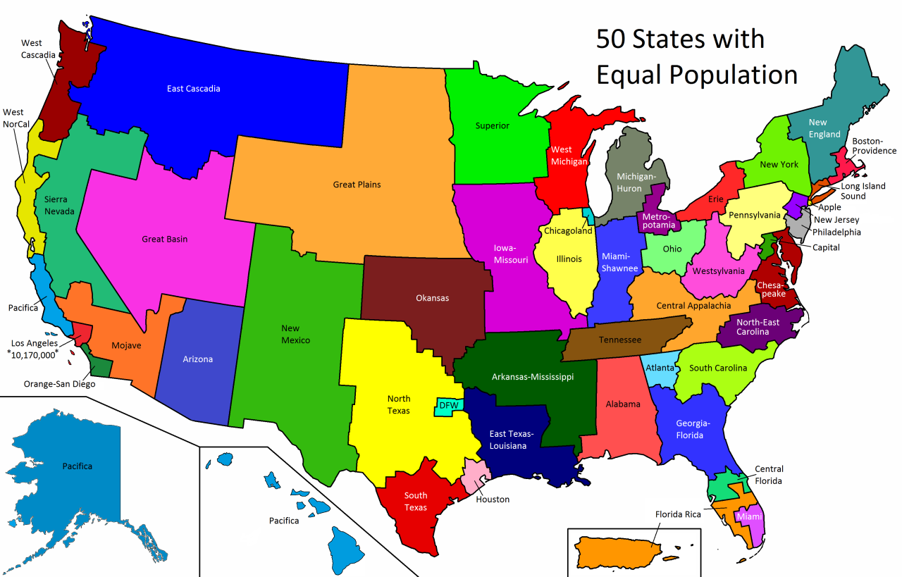 Mapsontheweb 50 Us States With Equal Population